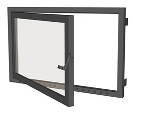 Glass Door System for Open Fireplaces - Flat Door System