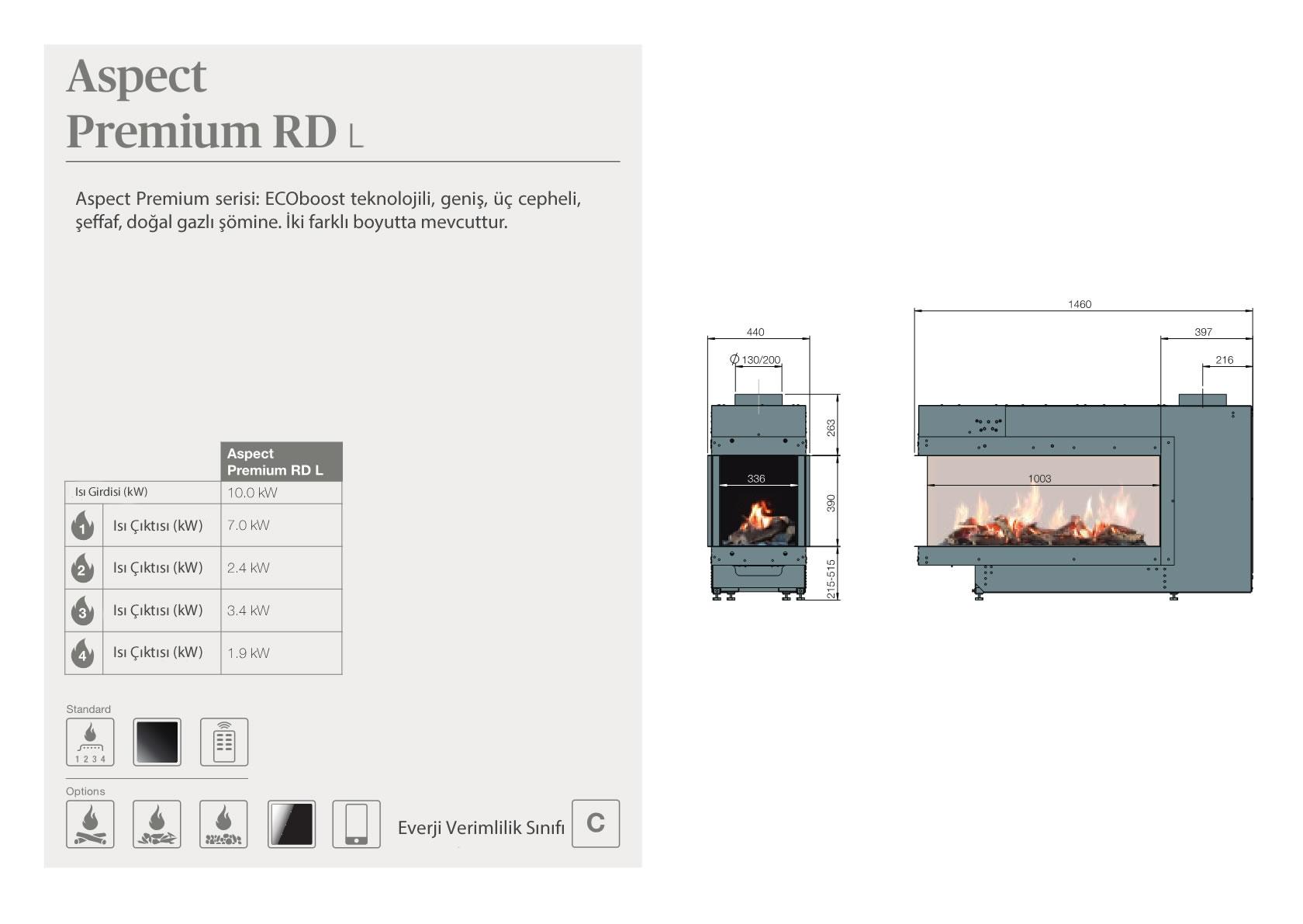 Faber Natural Gas Fireplaces - Aspect Premium RD L