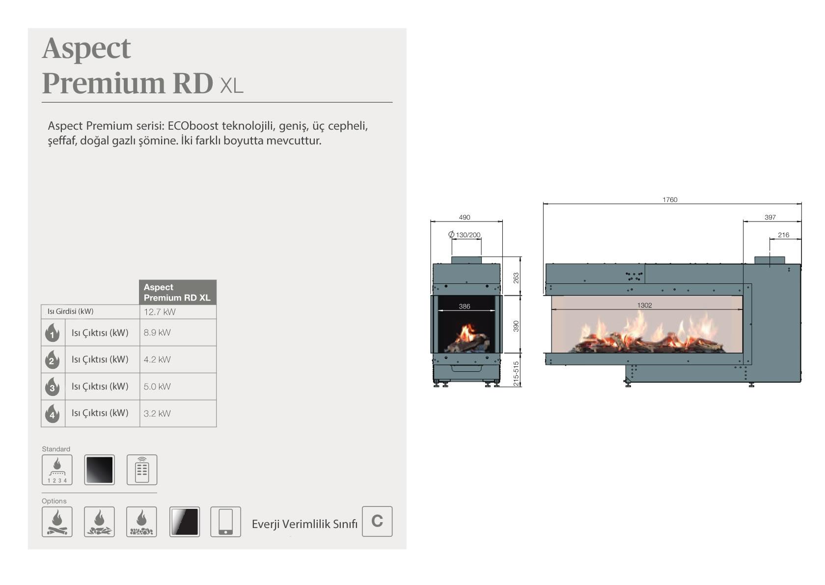 Faber Natural Gas Fireplaces - Aspect Premium RD XL
