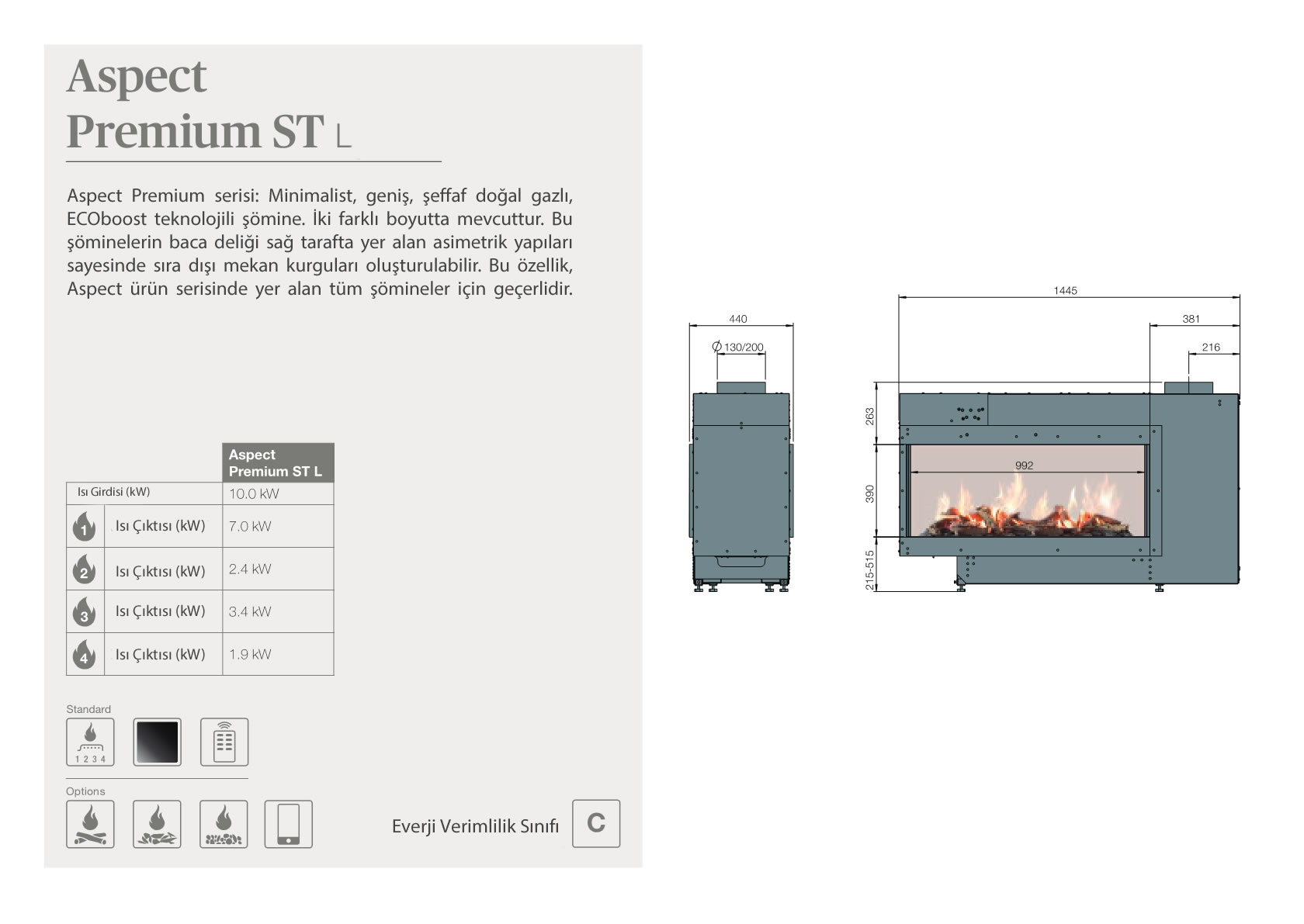 Faber Natural Gas Fireplaces - Aspect Premium ST L
