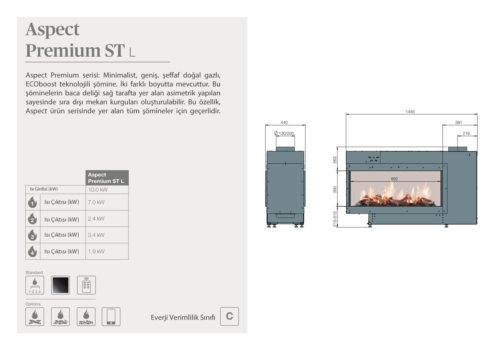 Faber Natural Gas Fireplaces - Aspect Premium ST L