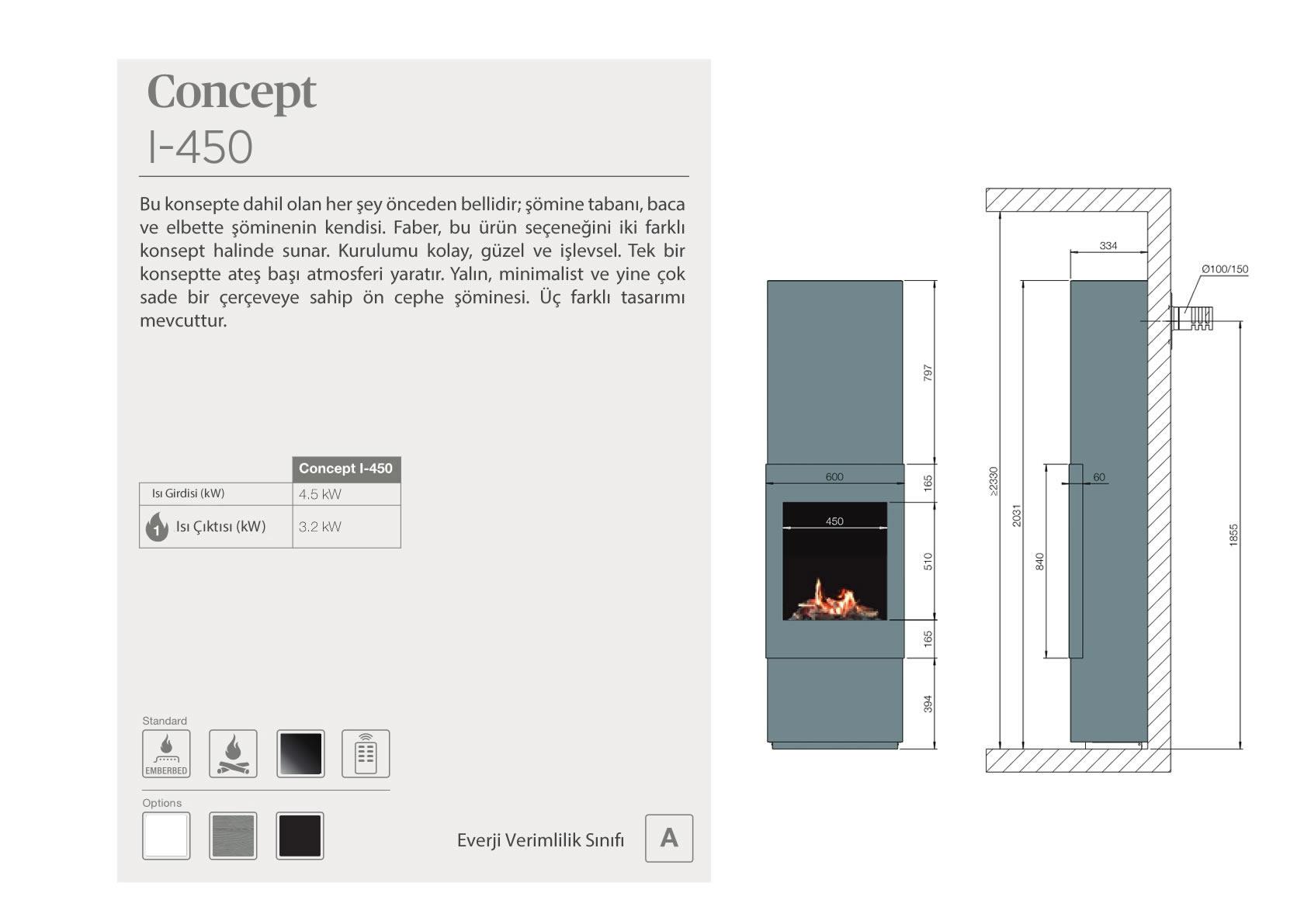 Faber Natural Gas Fireplaces - Konsept I-450