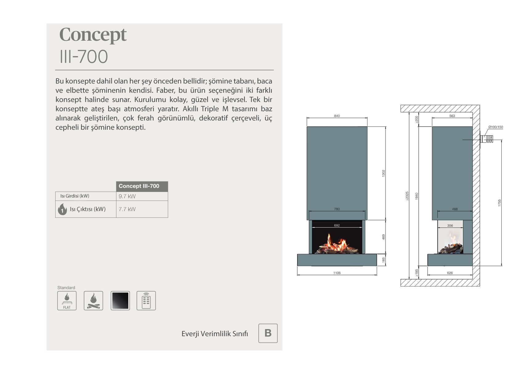 Faber Natural Gas Fireplaces - Konsept III-700