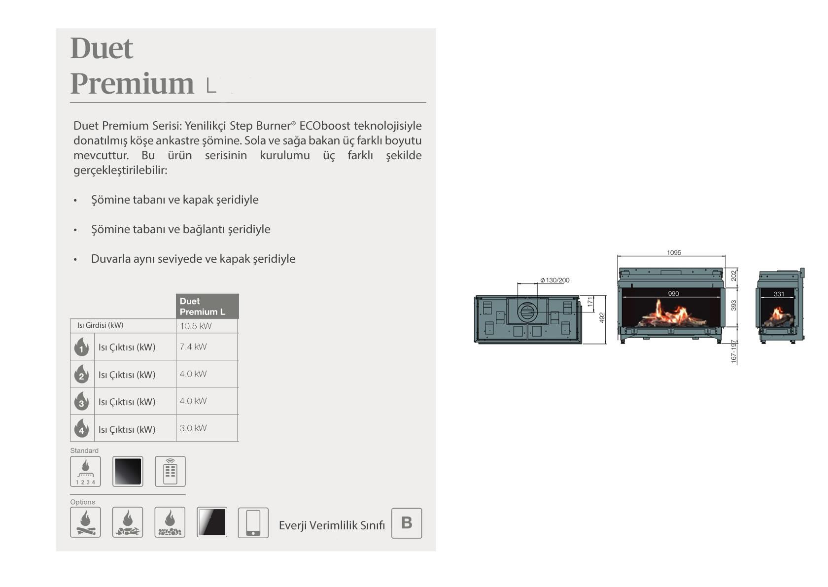 Faber Doğalgazlı Şömineler - Duet Premium L