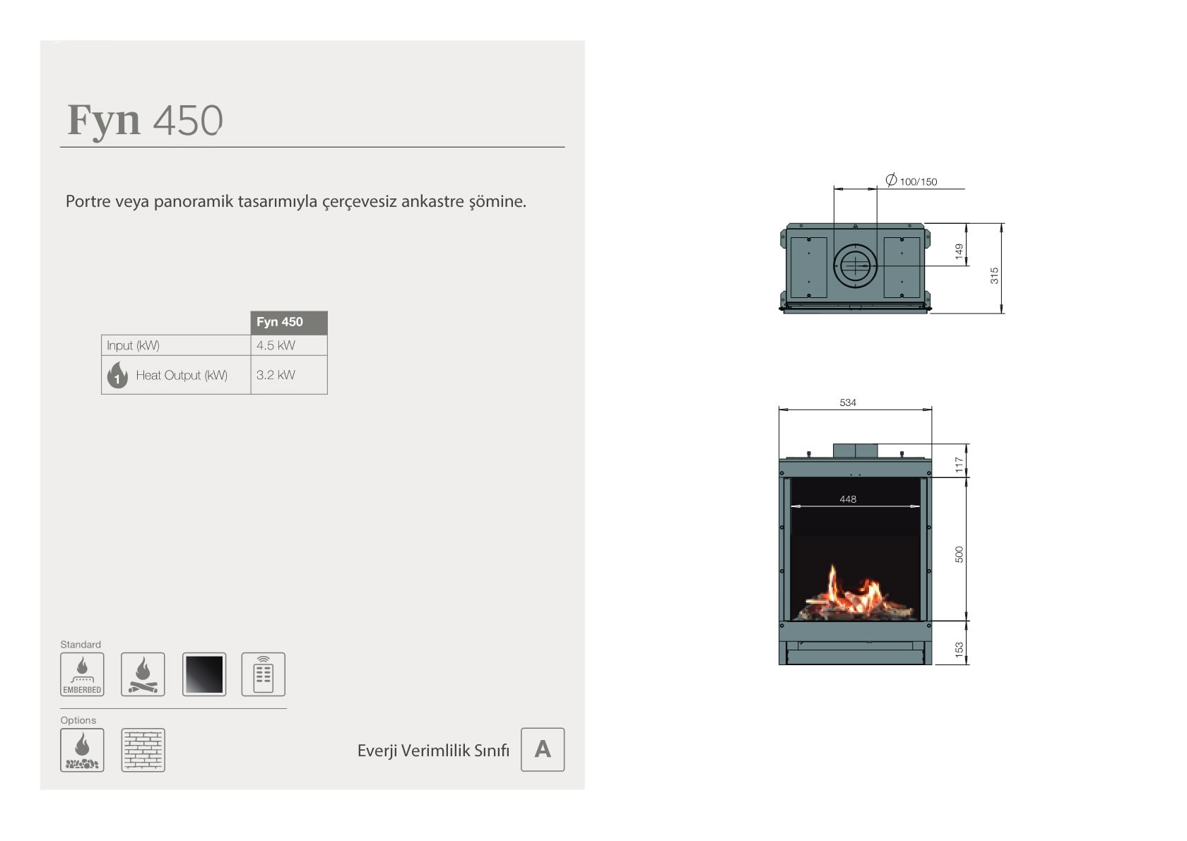 Faber Natural Gas Fireplaces - Fyn 450