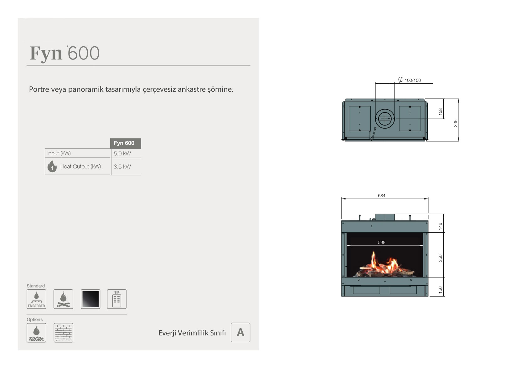 Faber Natural Gas Fireplaces - Fyn 600
