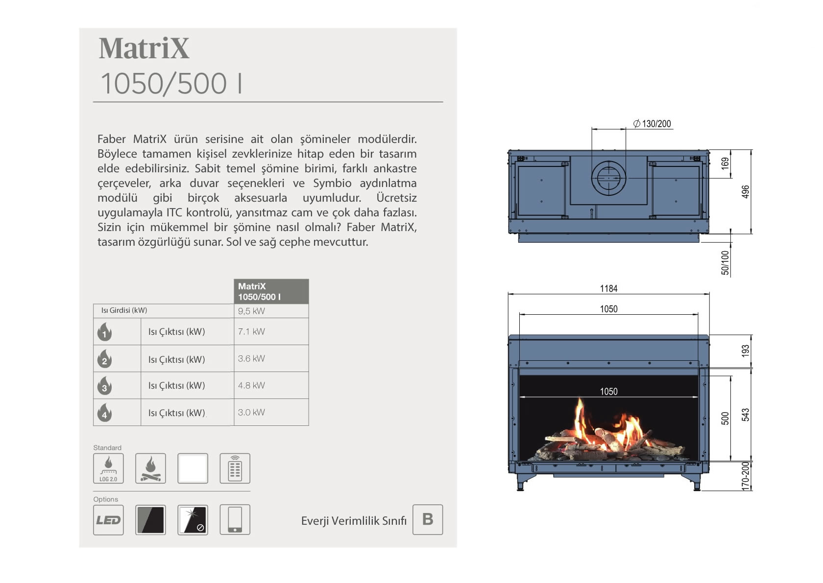 Faber Natural Gas Fireplaces - Matrix 1050 / 500 I