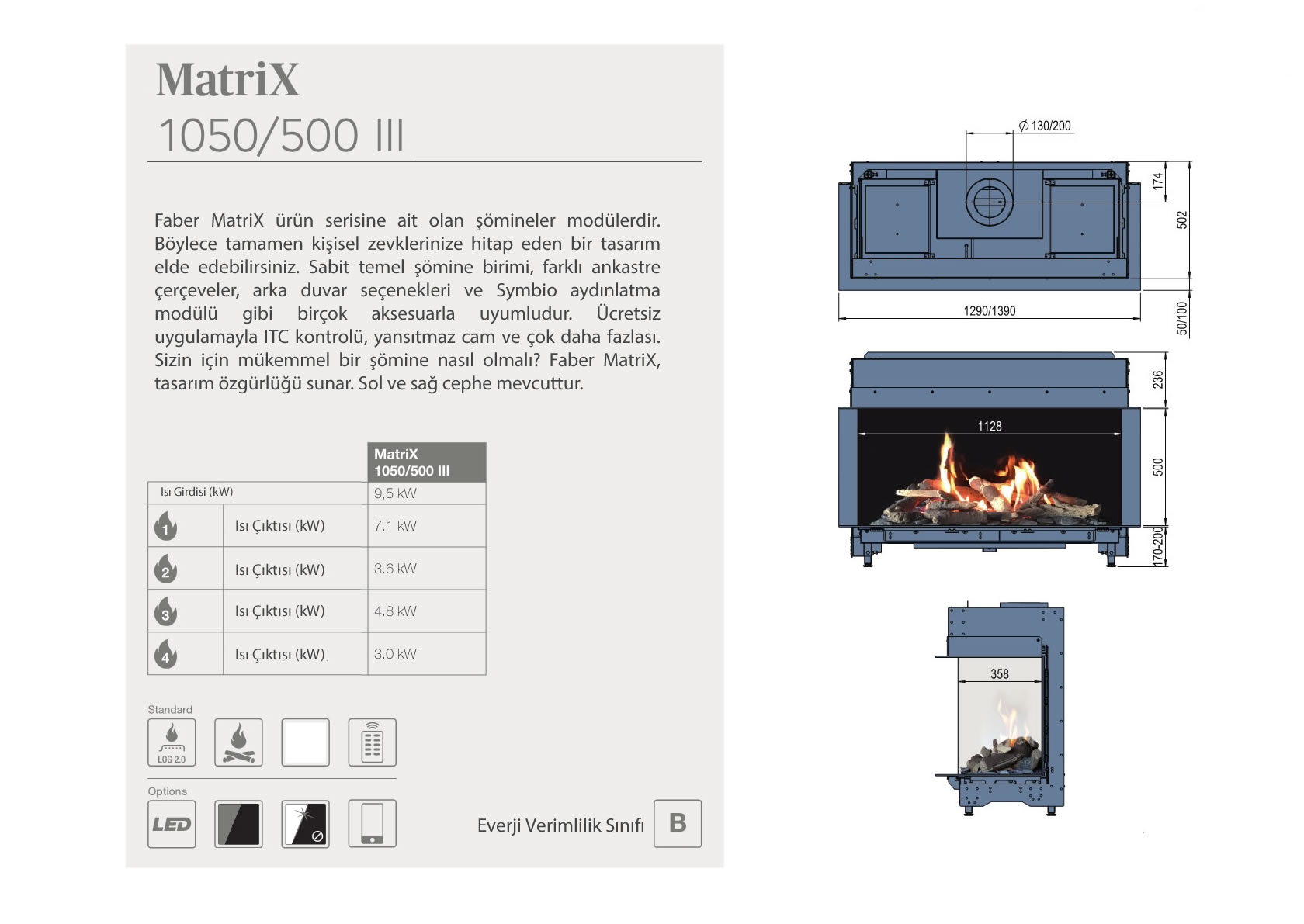 Faber Natural Gas Fireplaces - Matrix 1050 / 500 III