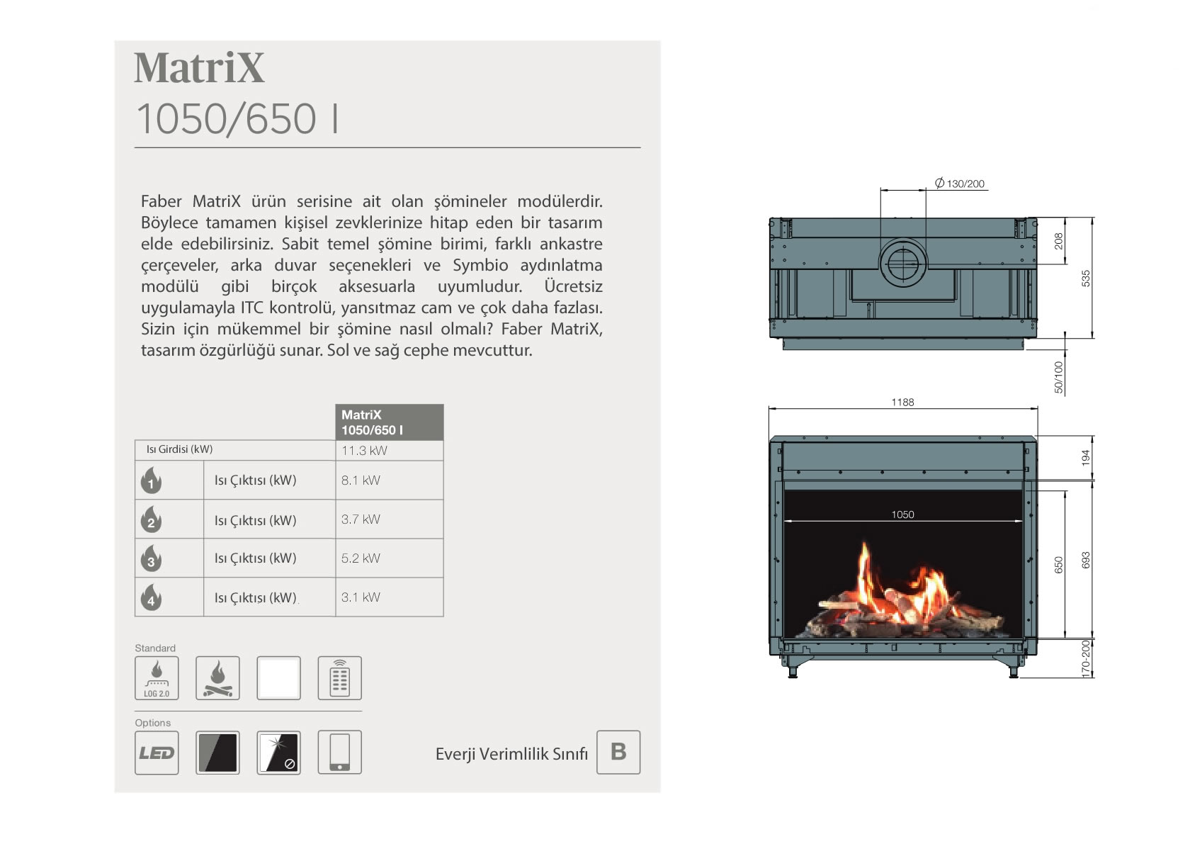 Faber Natural Gas Fireplaces - MATRİX 1050 / 650 I