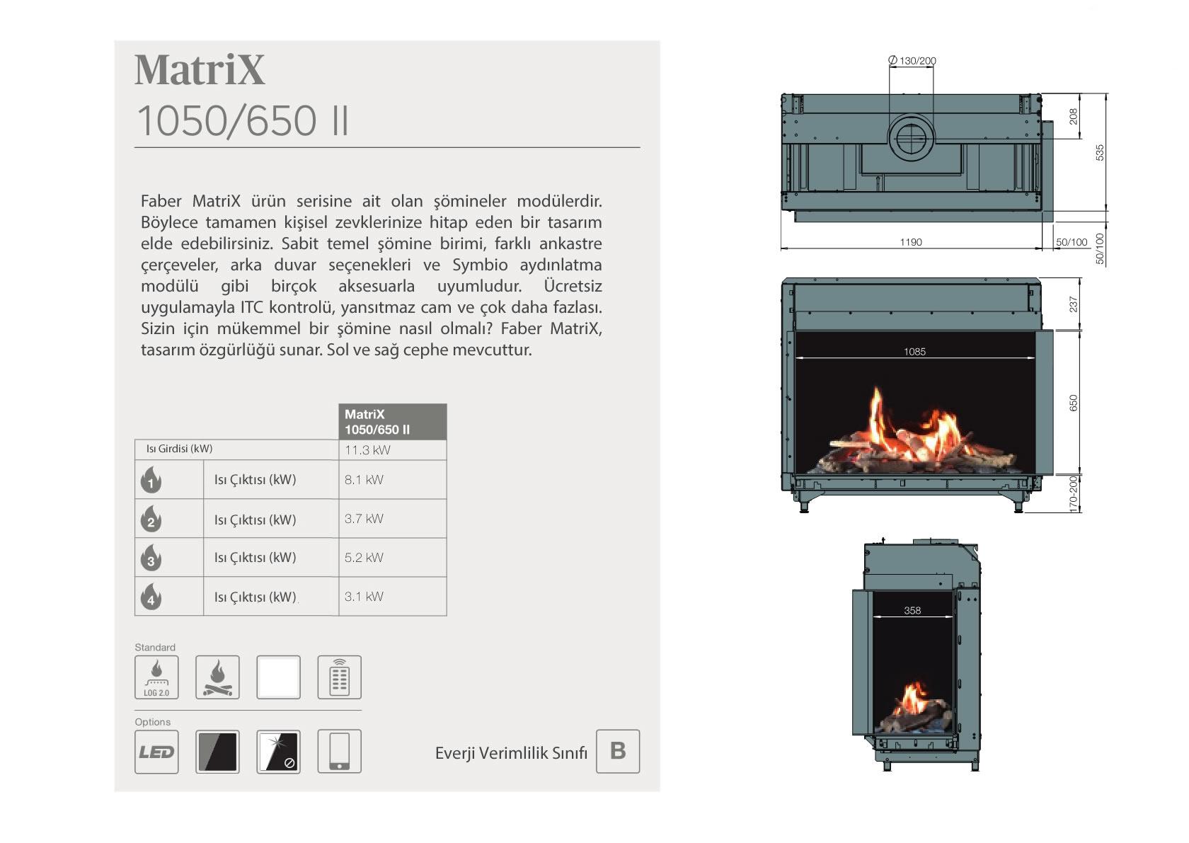 Faber Doğalgazlı Şömineler - MATRİX 1050 / 650 II