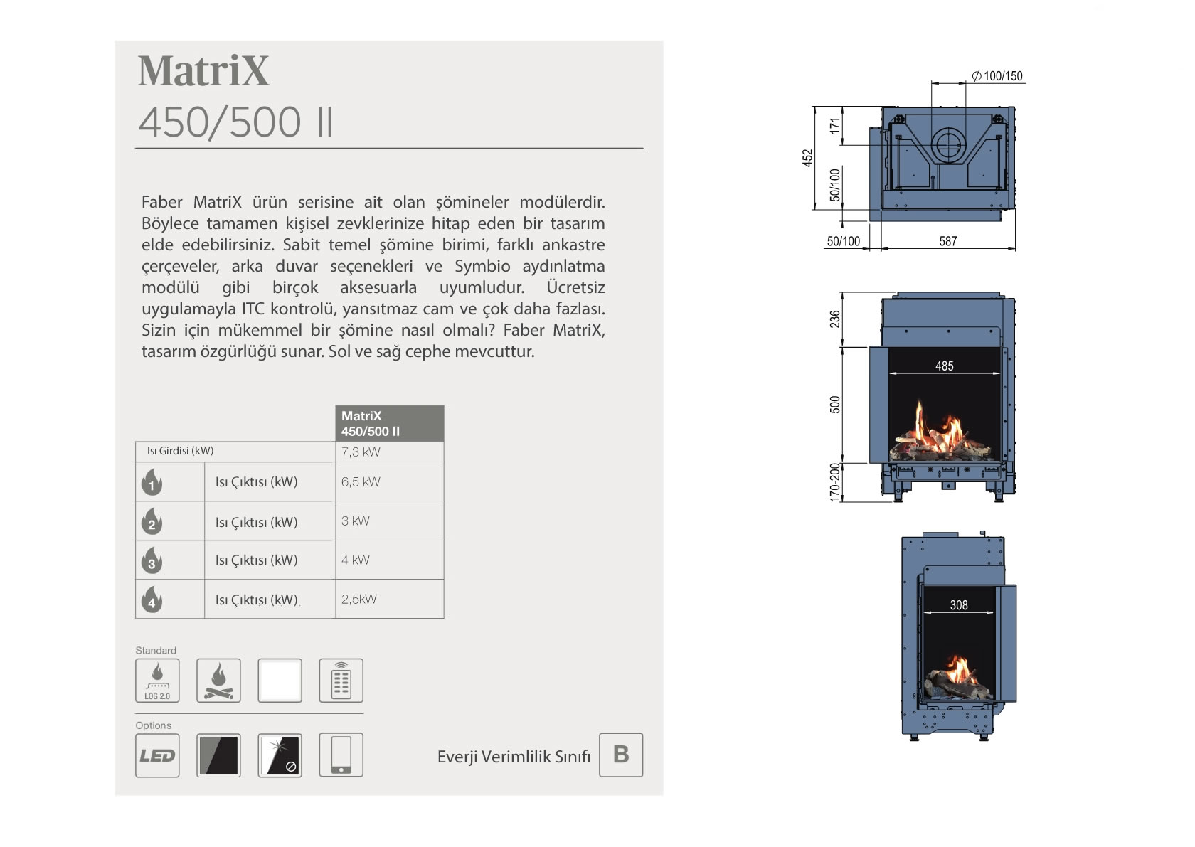 Faber Natural Gas Fireplaces - MATRİX 450/ 500 II