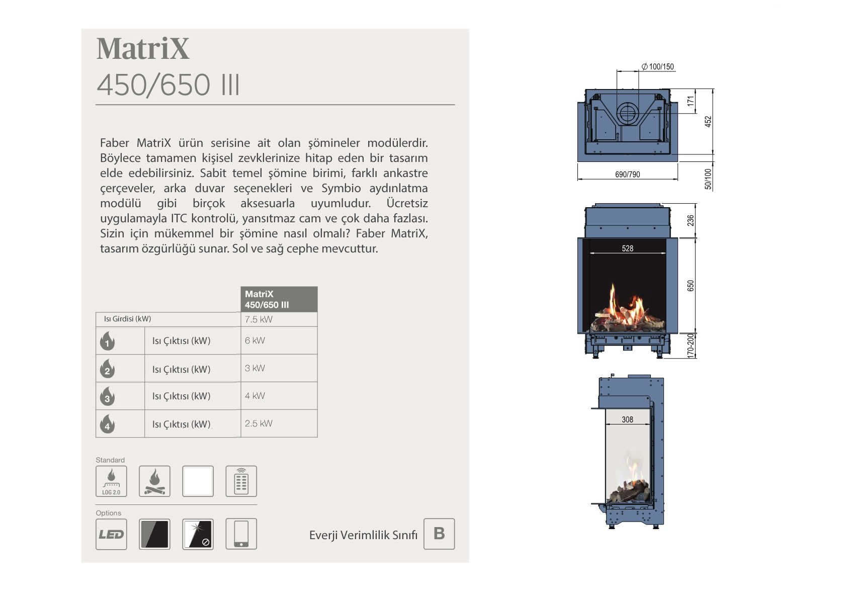 Faber Natural Gas Fireplaces - MATRİX 450/ 650 III