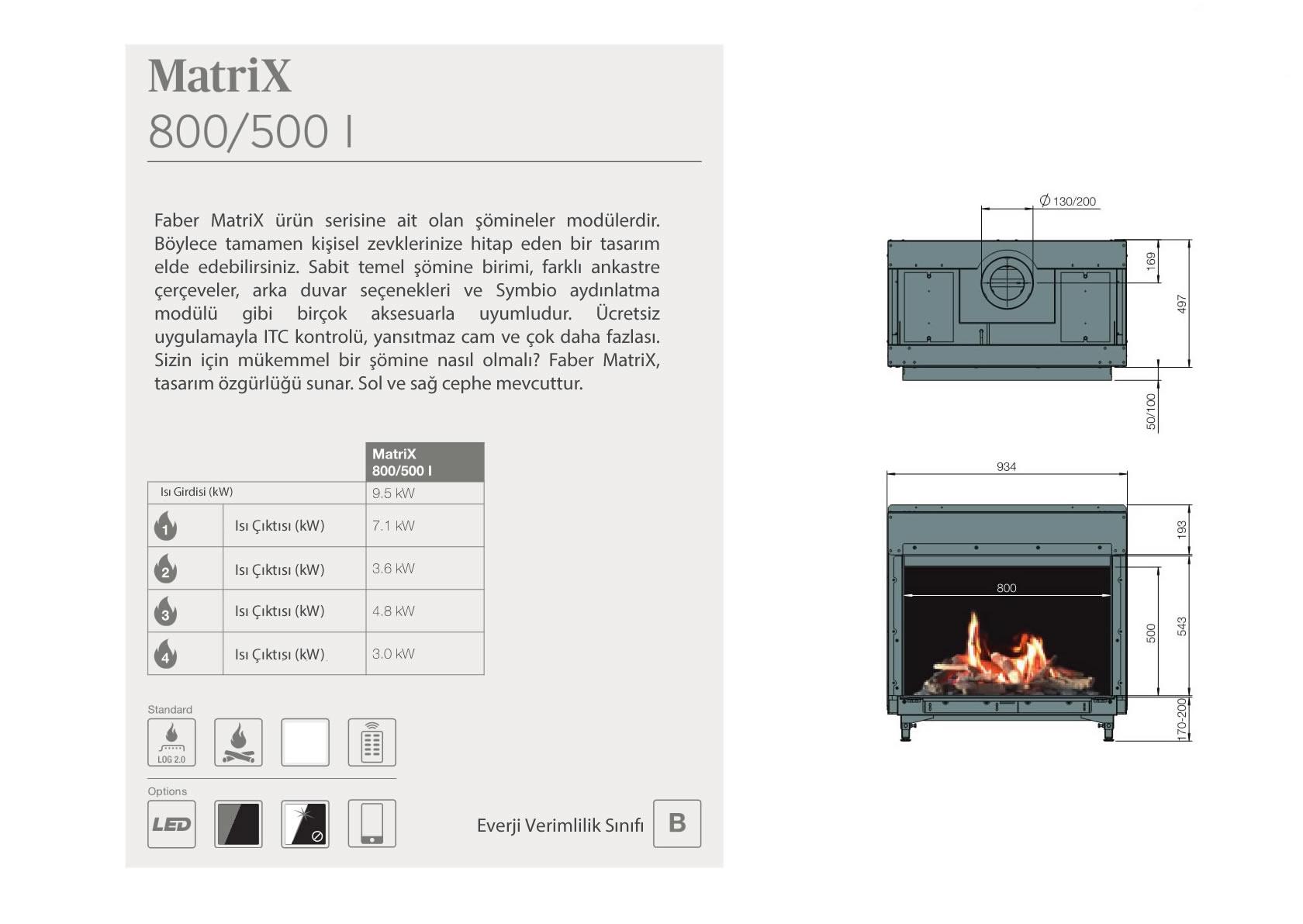 Faber Doğalgazlı Şömineler - Matrix 800 / 500 I