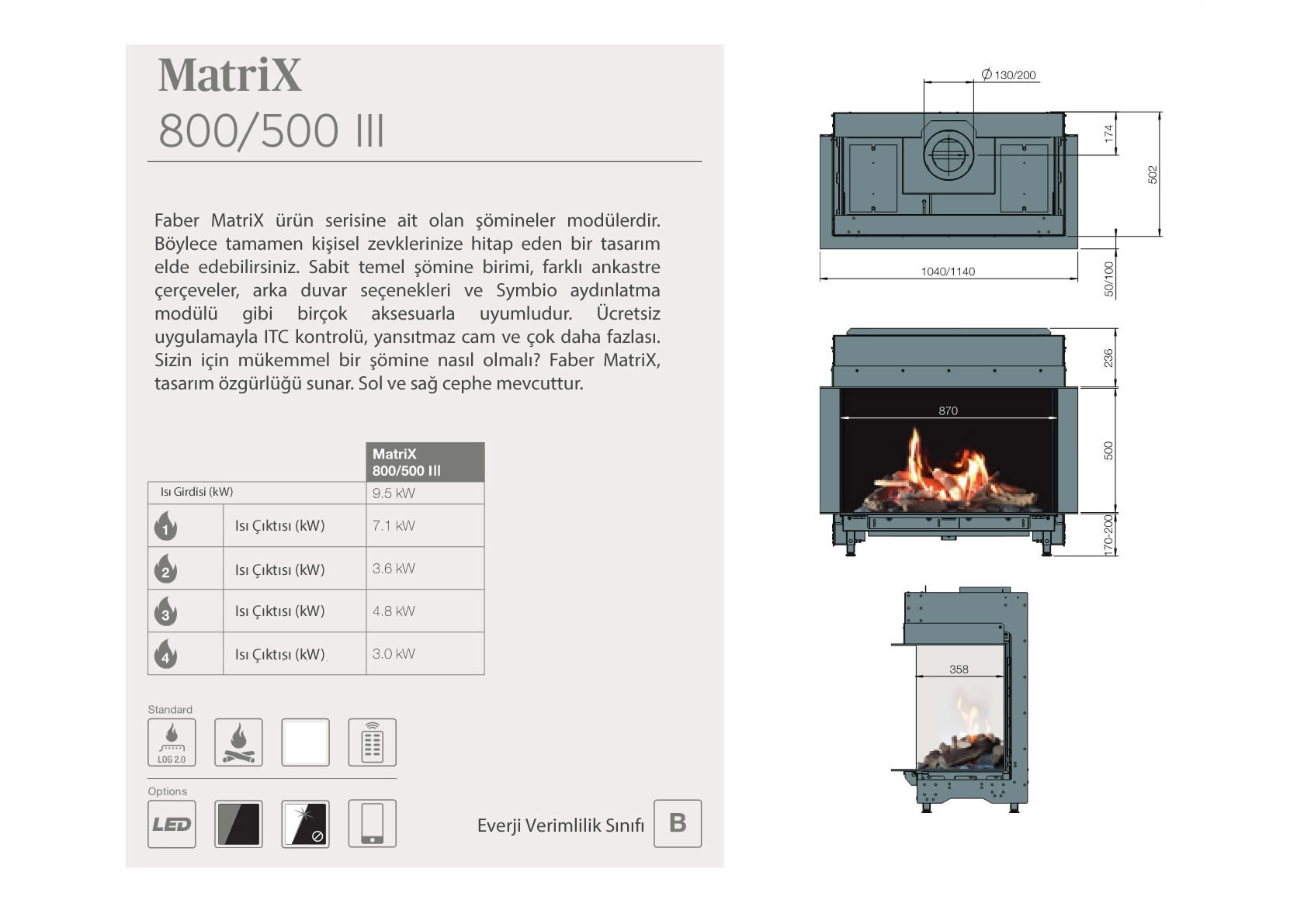 Faber Natural Gas Fireplaces - Matrix 800 / 500 III