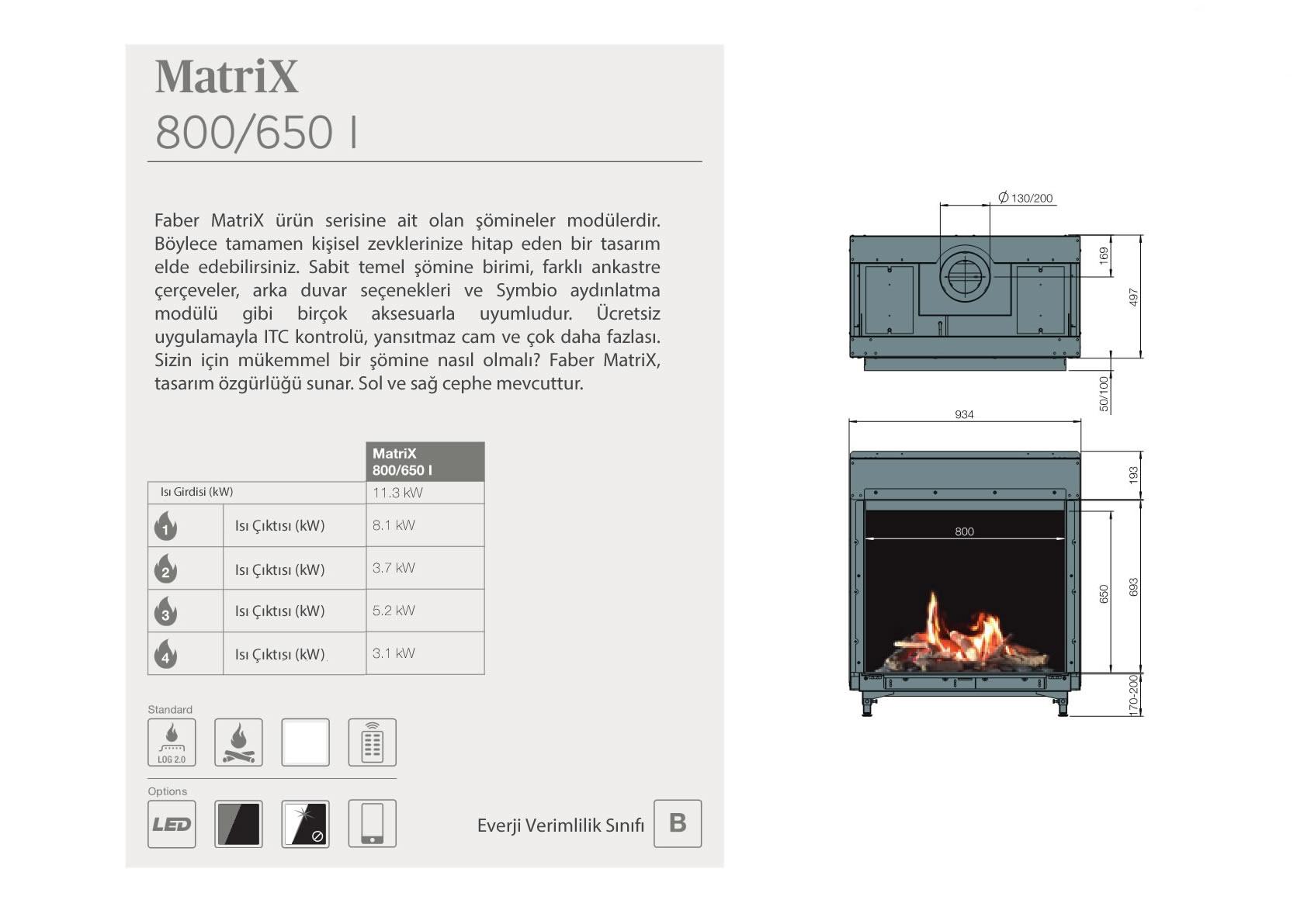 Faber Doğalgazlı Şömineler - Matrix 800 / 650 I