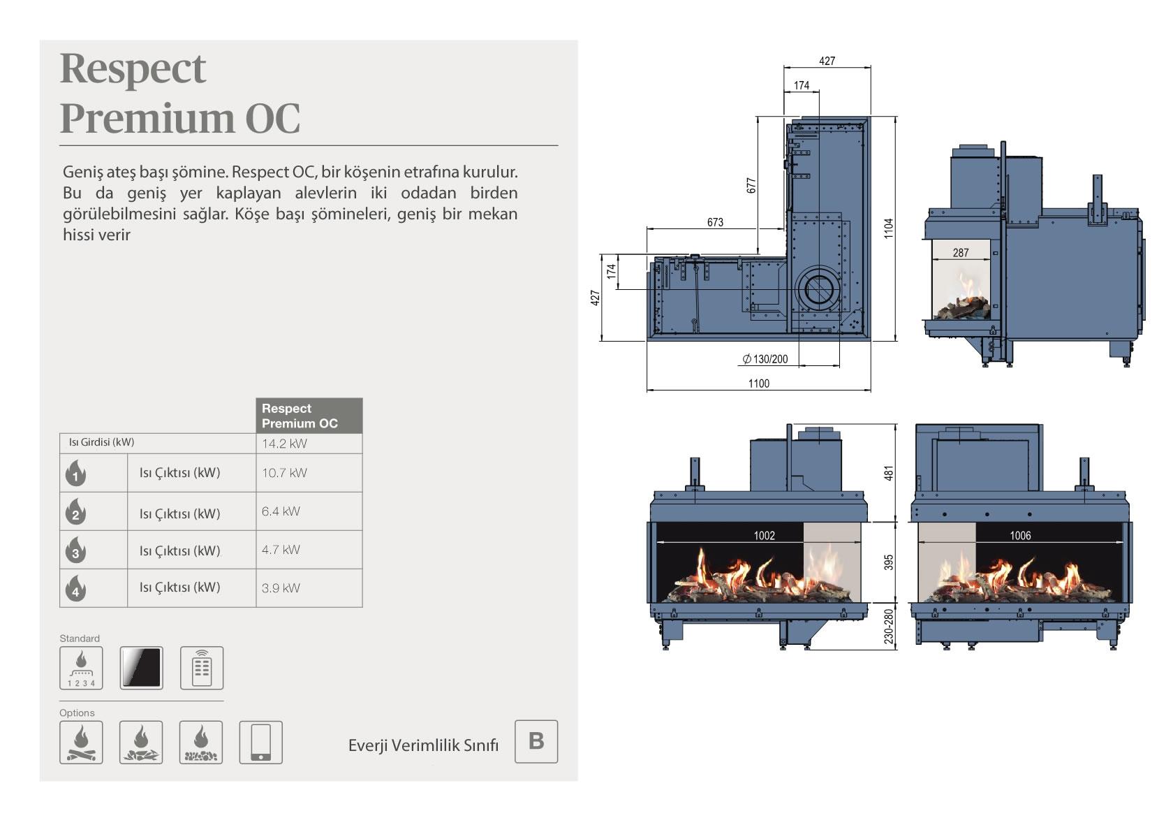 Faber Natural Gas Fireplaces - Respect Premium OC
