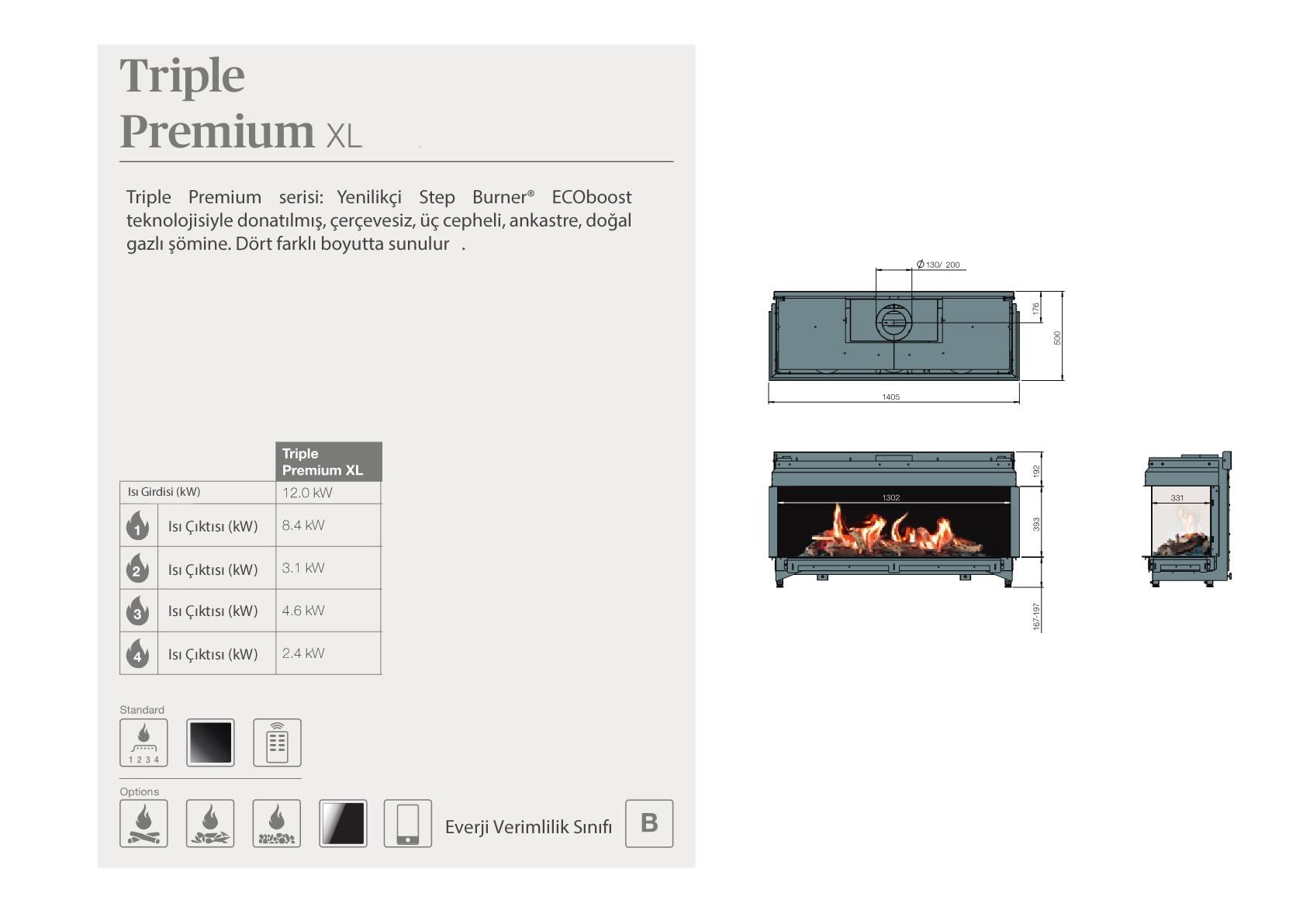 Faber Doğalgazlı Şömineler - Triple Premium XL