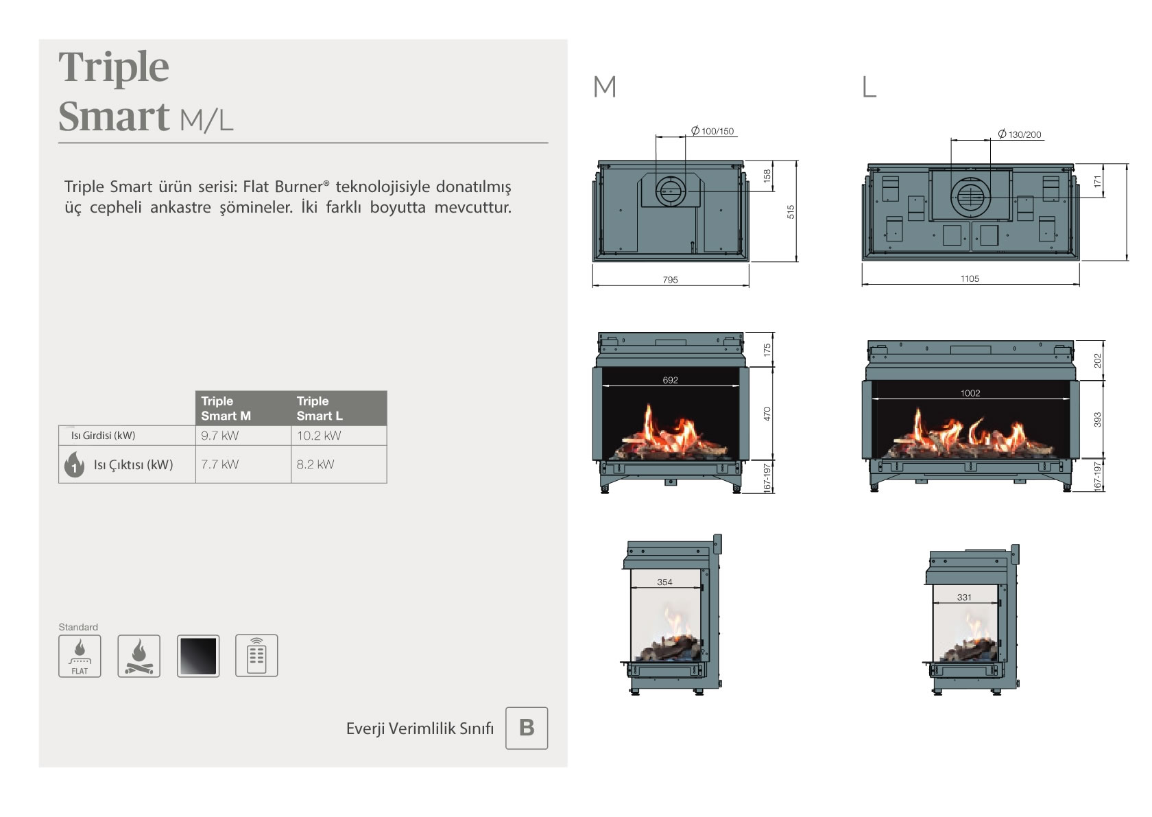 Faber Natural Gas Fireplaces - Triple Smart M / L
