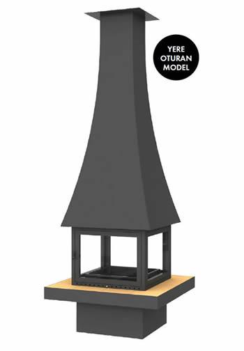 Hürsan Odunlu Orta Şömineler - KAVİS CAMLI
