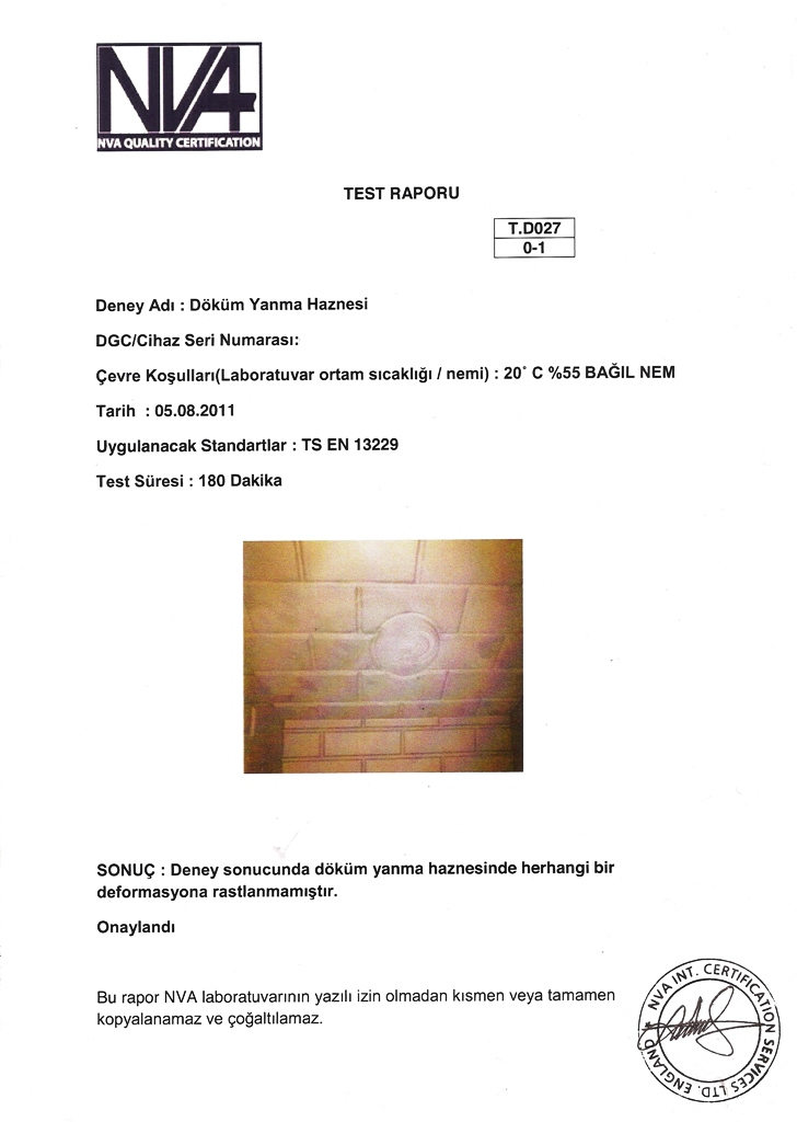 Casting Fireplace Inserts Test Reports