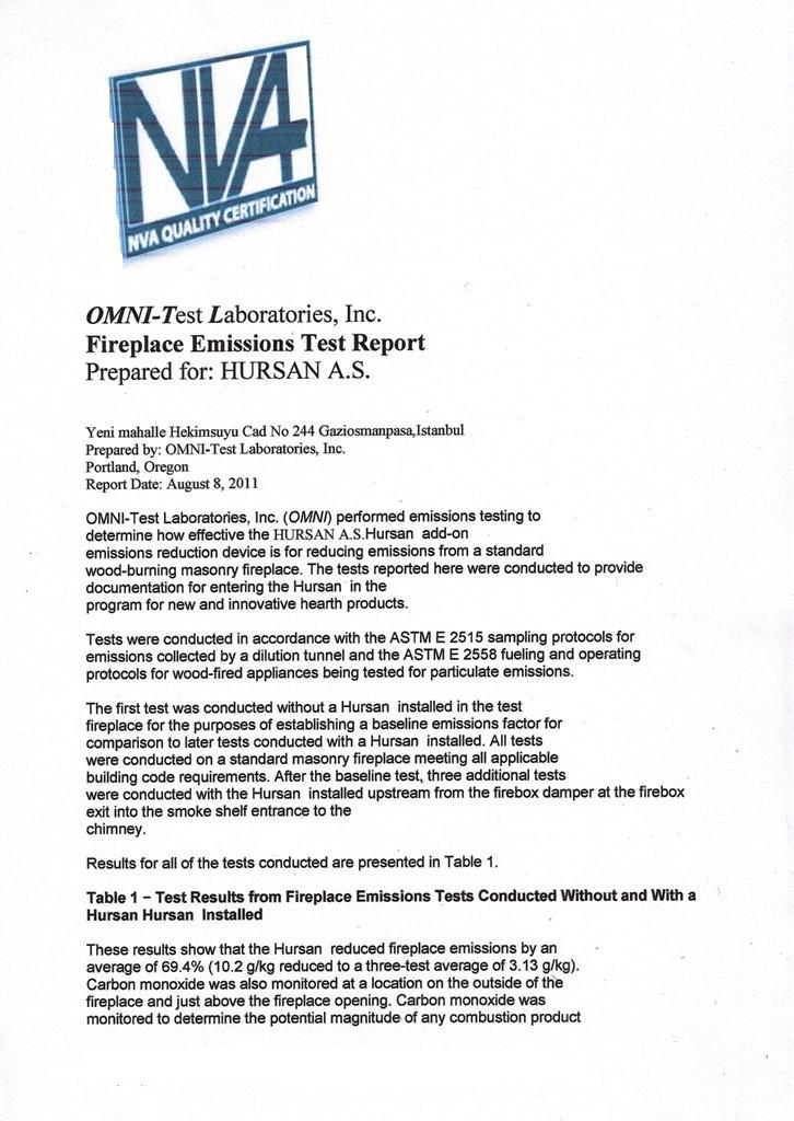 Emissions Test Report