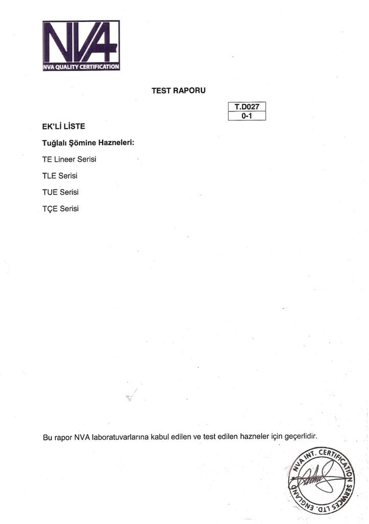 Tuğlalı Şömine Hazneleri Test Raporları